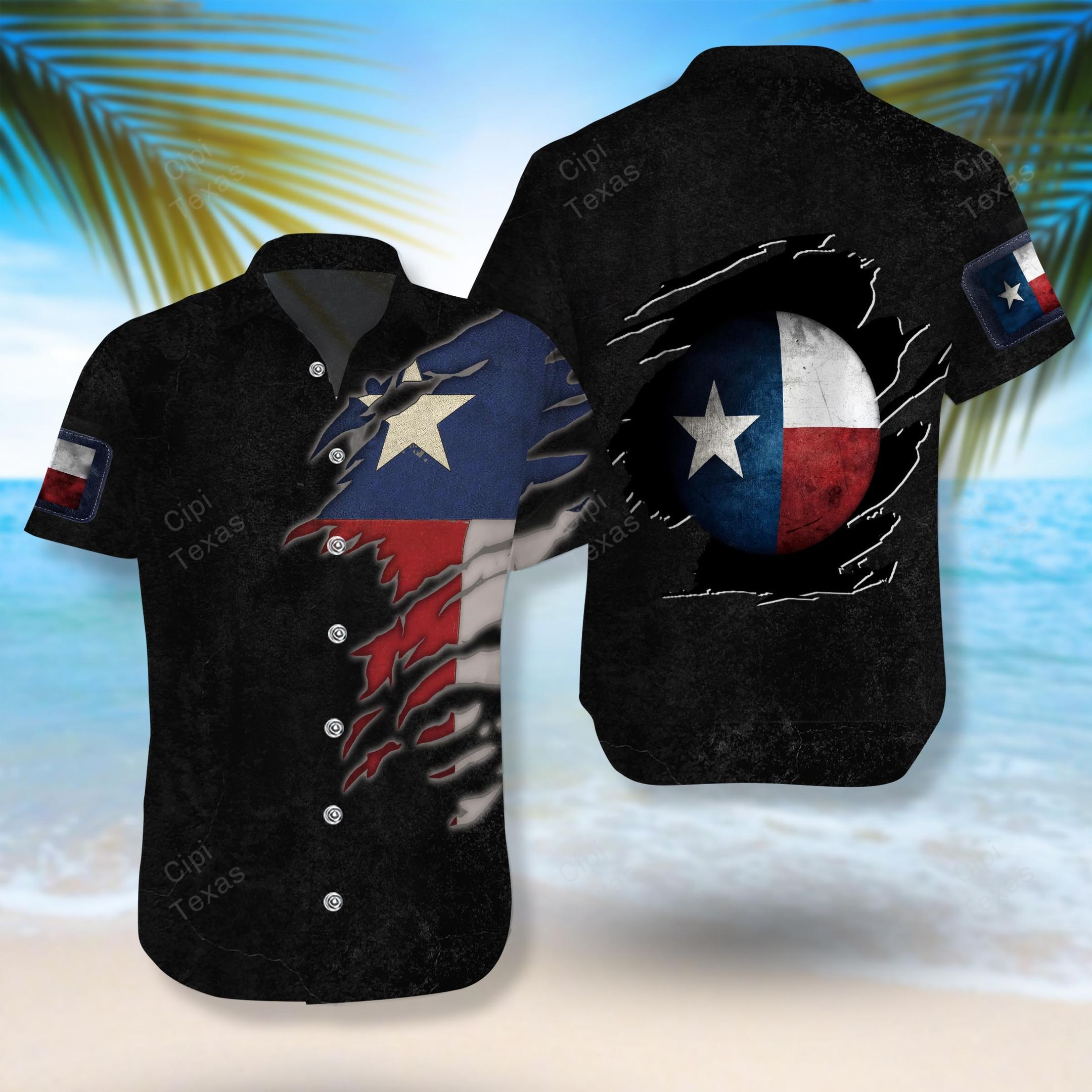 The Lone Star State Texas flag Black Hawaiian Shirt Summer Shirt