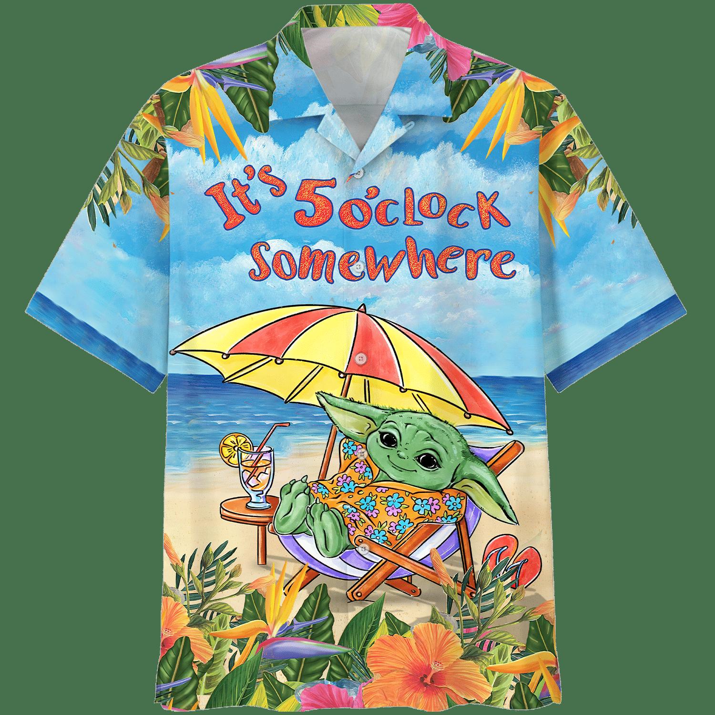 Baby Yoda vacation 5 Oclock Somewhere Hawaiian Shirt