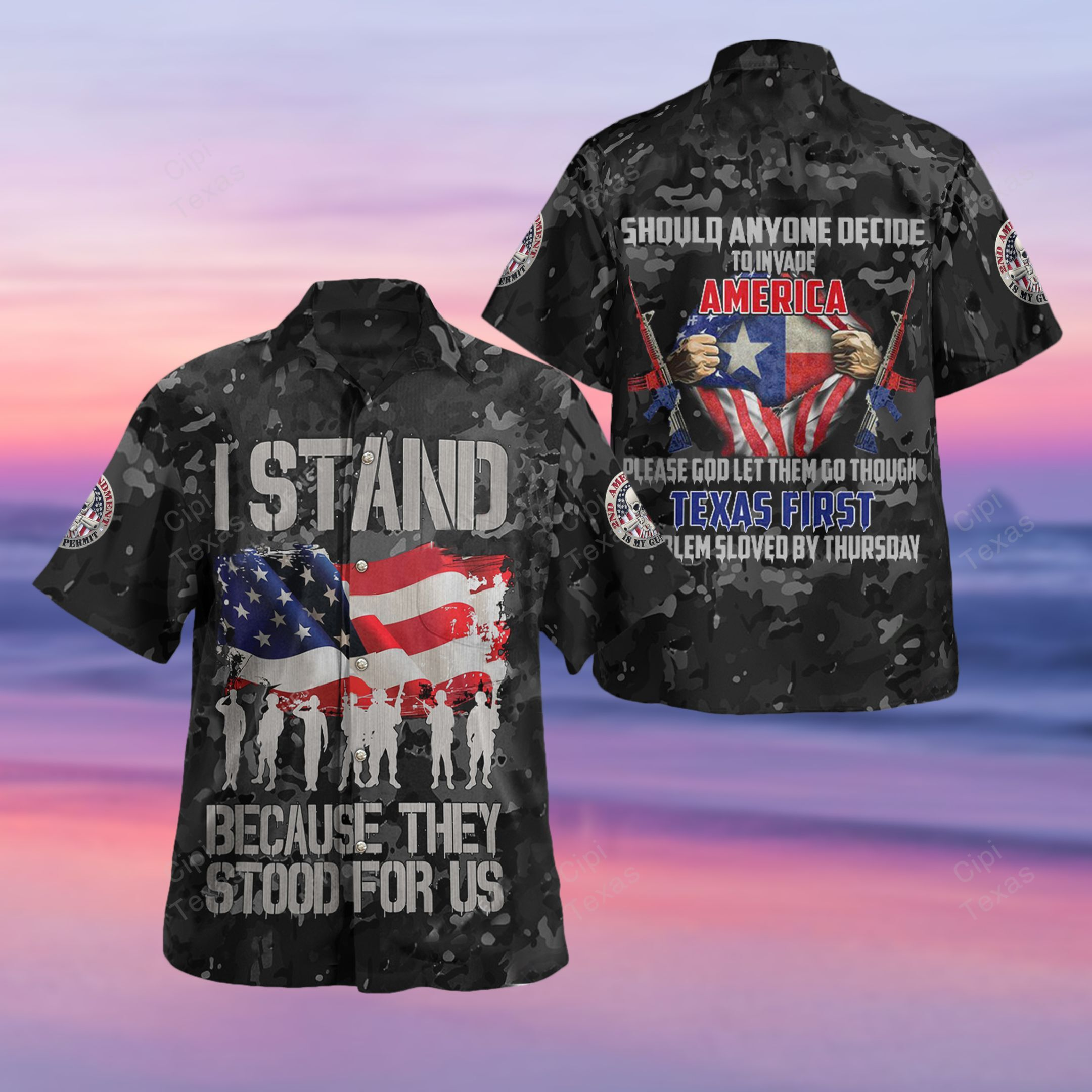 I Stand Because They Stood For Us Texas First Hawaiian Shirt