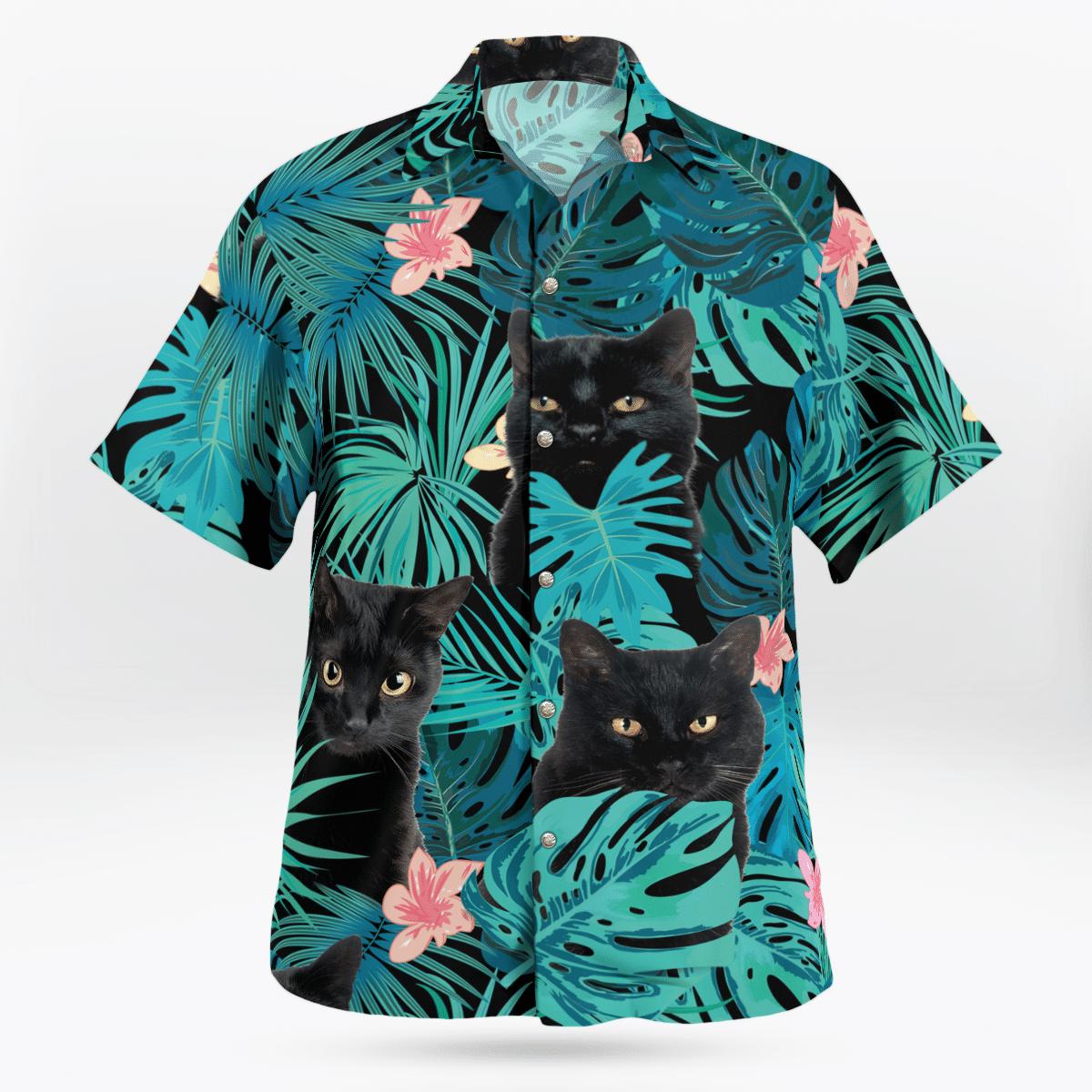 Black Cat Flower Hawaiian Beach Shirt