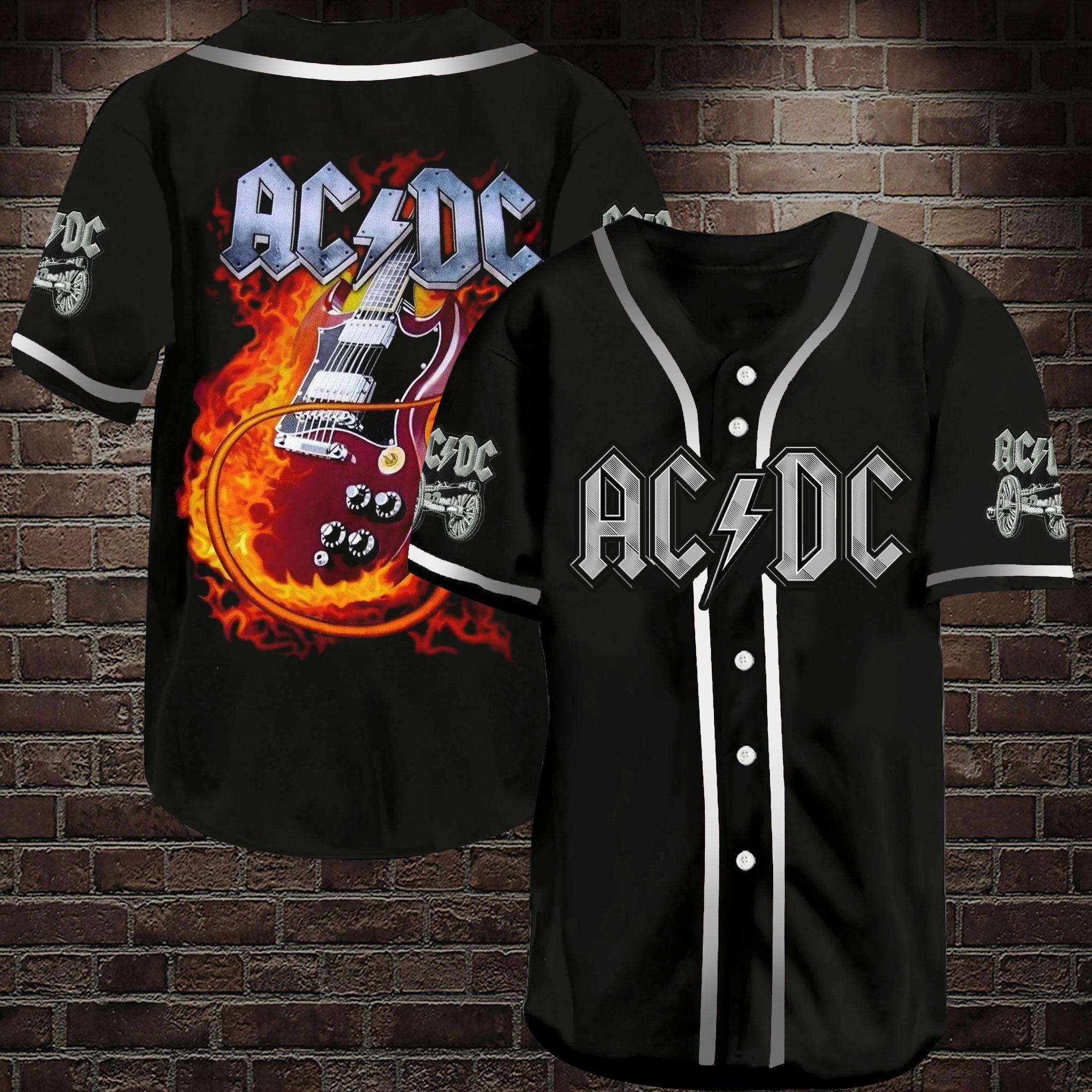 ACDC Electric Guitar Baseball Jersey Shirt