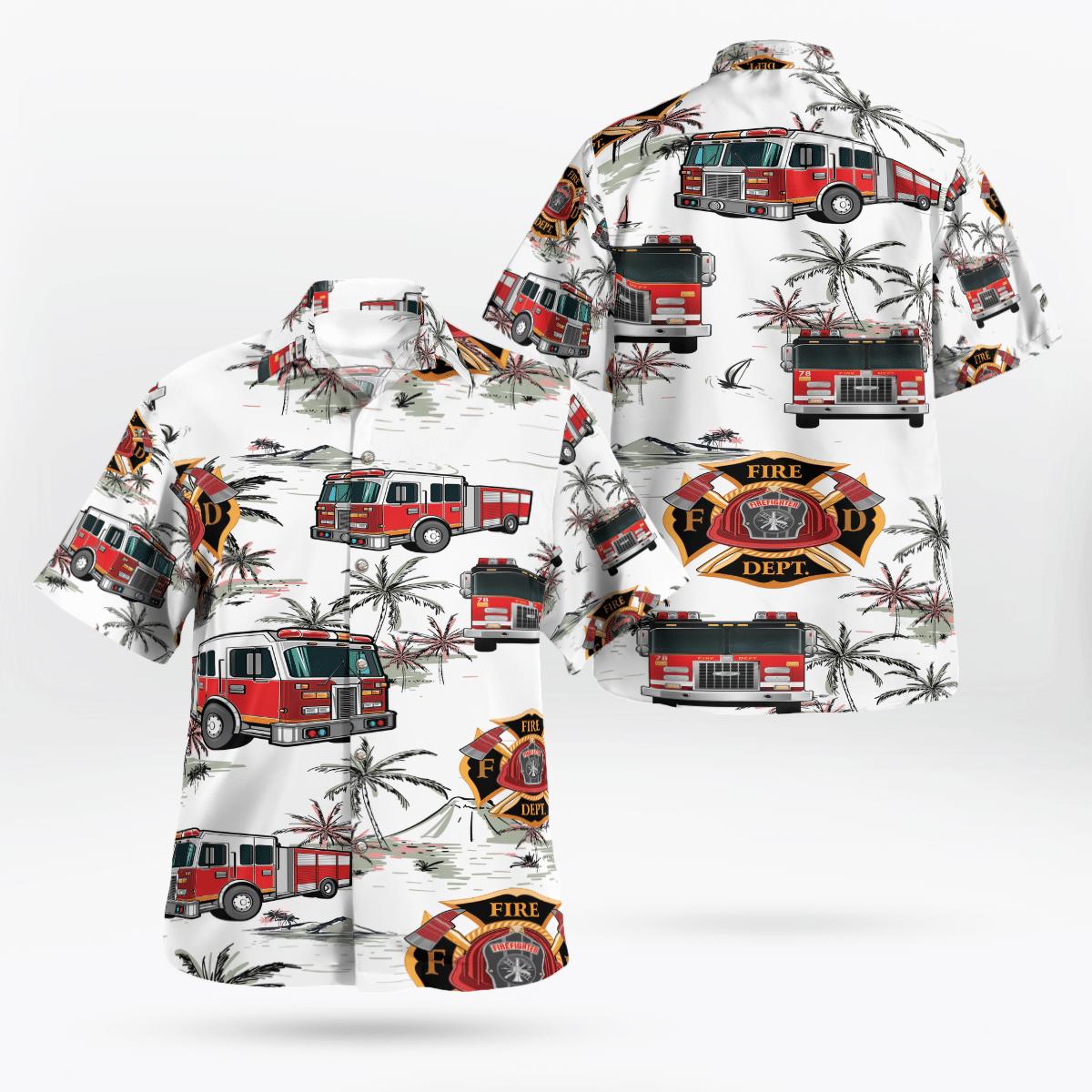 Firefighter Truck Hawaiian Beach Shirt