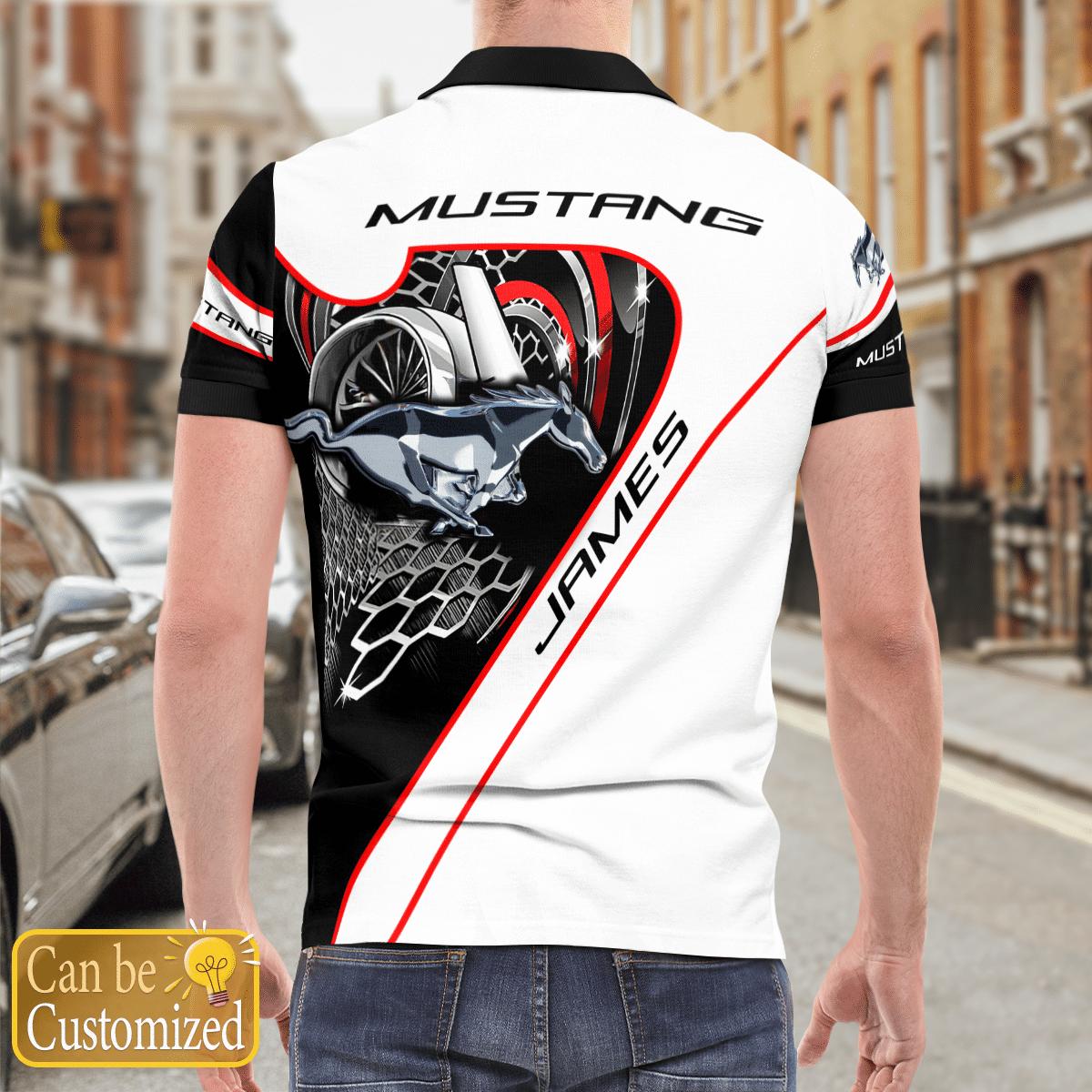 Custom Name Mustang car Polo Shirt