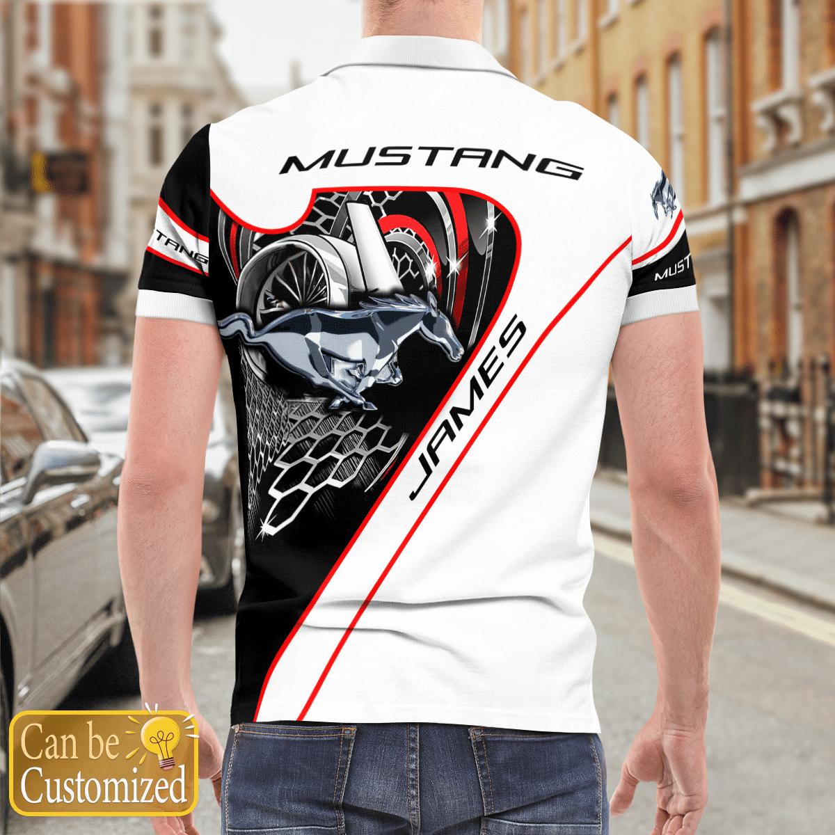 Custom Name Mustang car Polo Shirtv