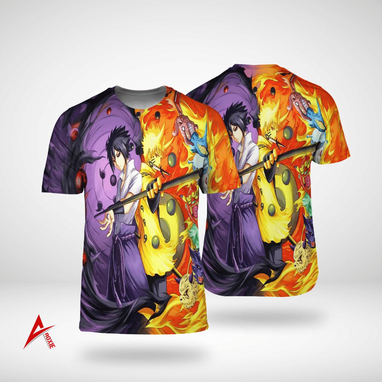 Naruto and Sasuke God mode 3D T shirt