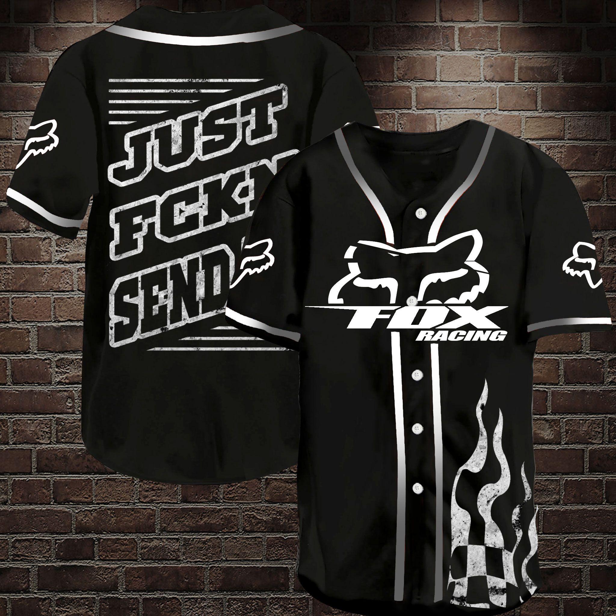 Fox Racing Just fckn send it Baseball Jersey Shirt