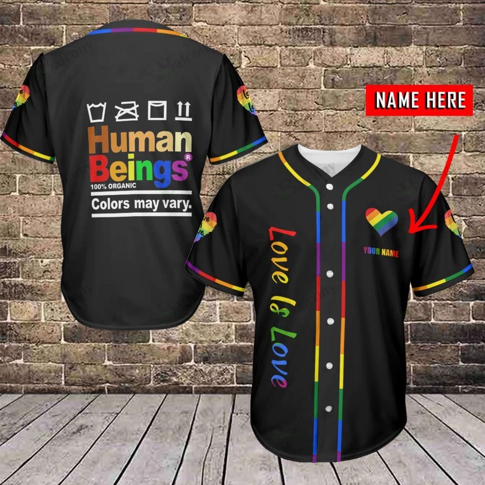 LGBT Humand Beings Colors vary Love is Love Personalized Name Baseball Jersey shirt