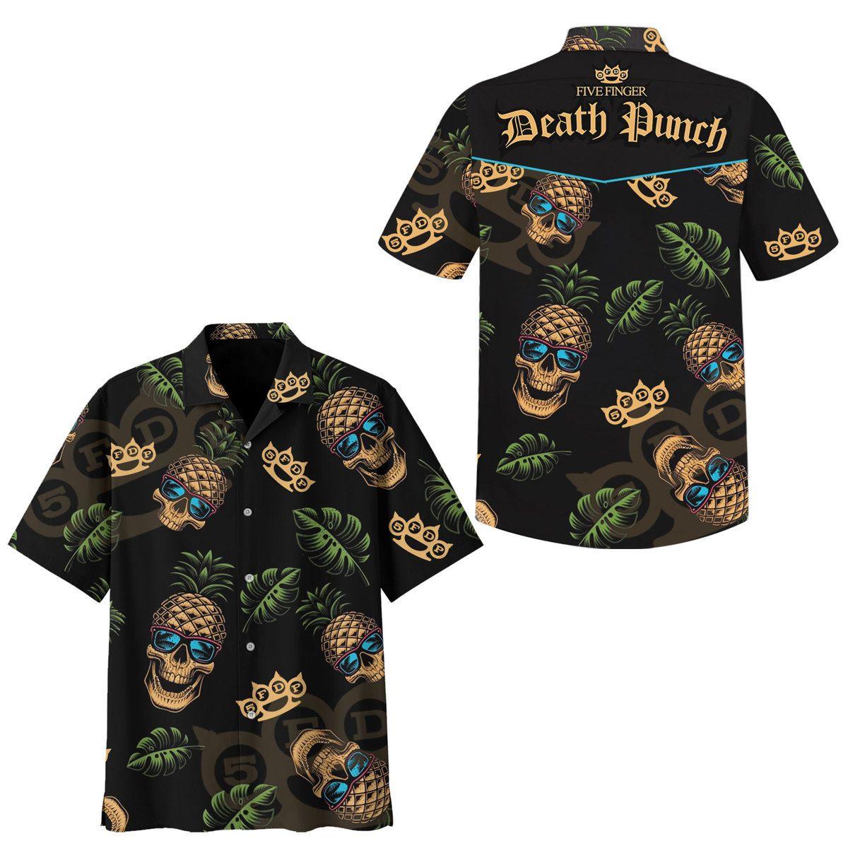 Death Punch Five Finger Skull pineapple HAWAIIAN SHIRT