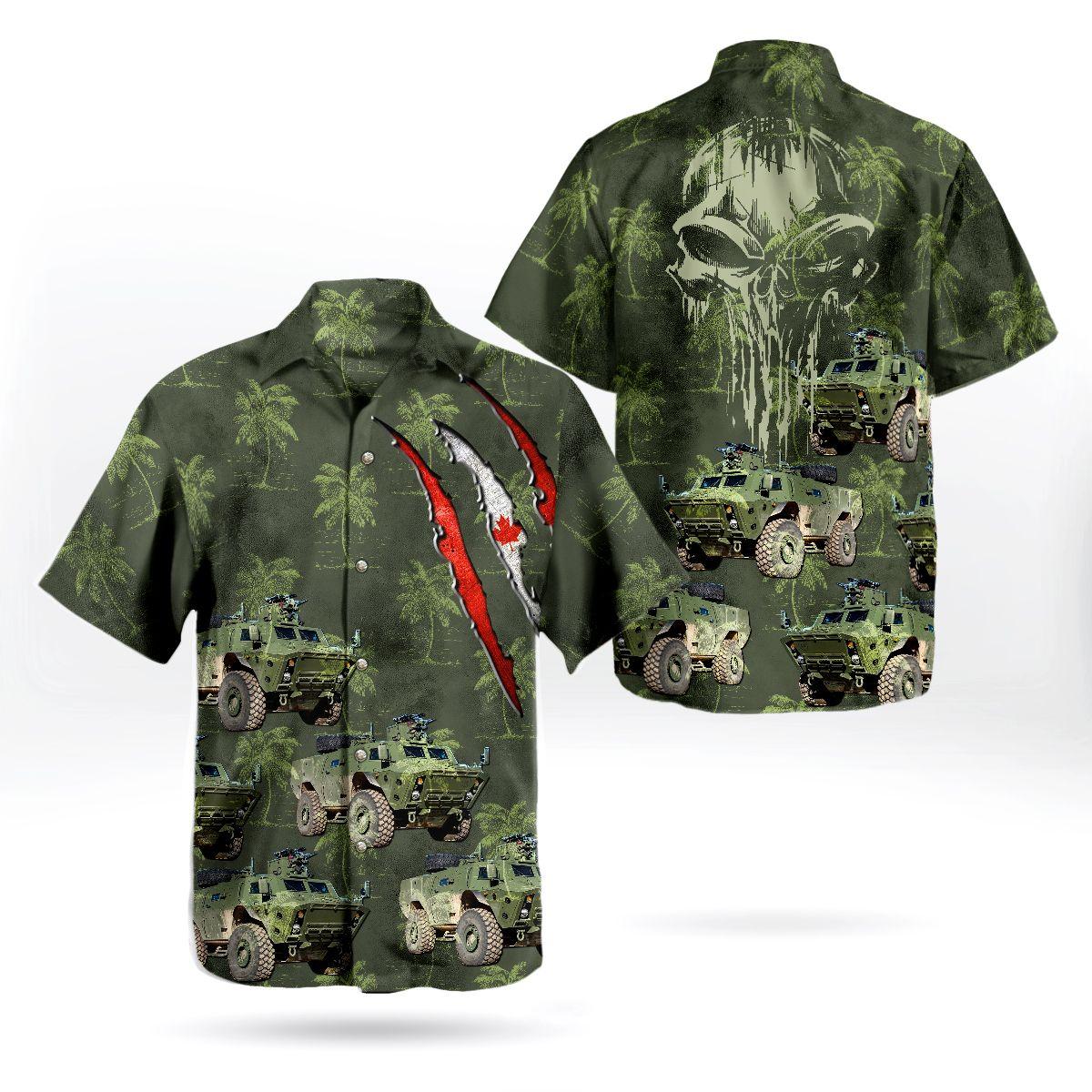 Canadian Army TAPV Tactical Armoured Patrol Vehicle Skull Green Hawaiian Shirt