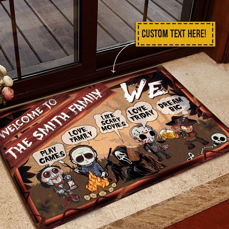 Personalized Halloween Camping Scary Horror Character Campsite Doormat