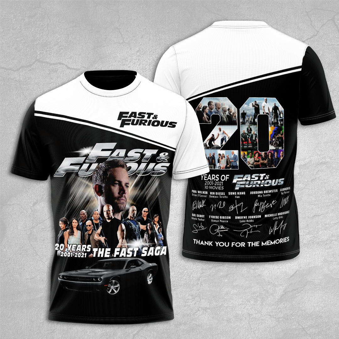 Fast and Furious 20 years Paul Walker Legends are forever 3D t shirt