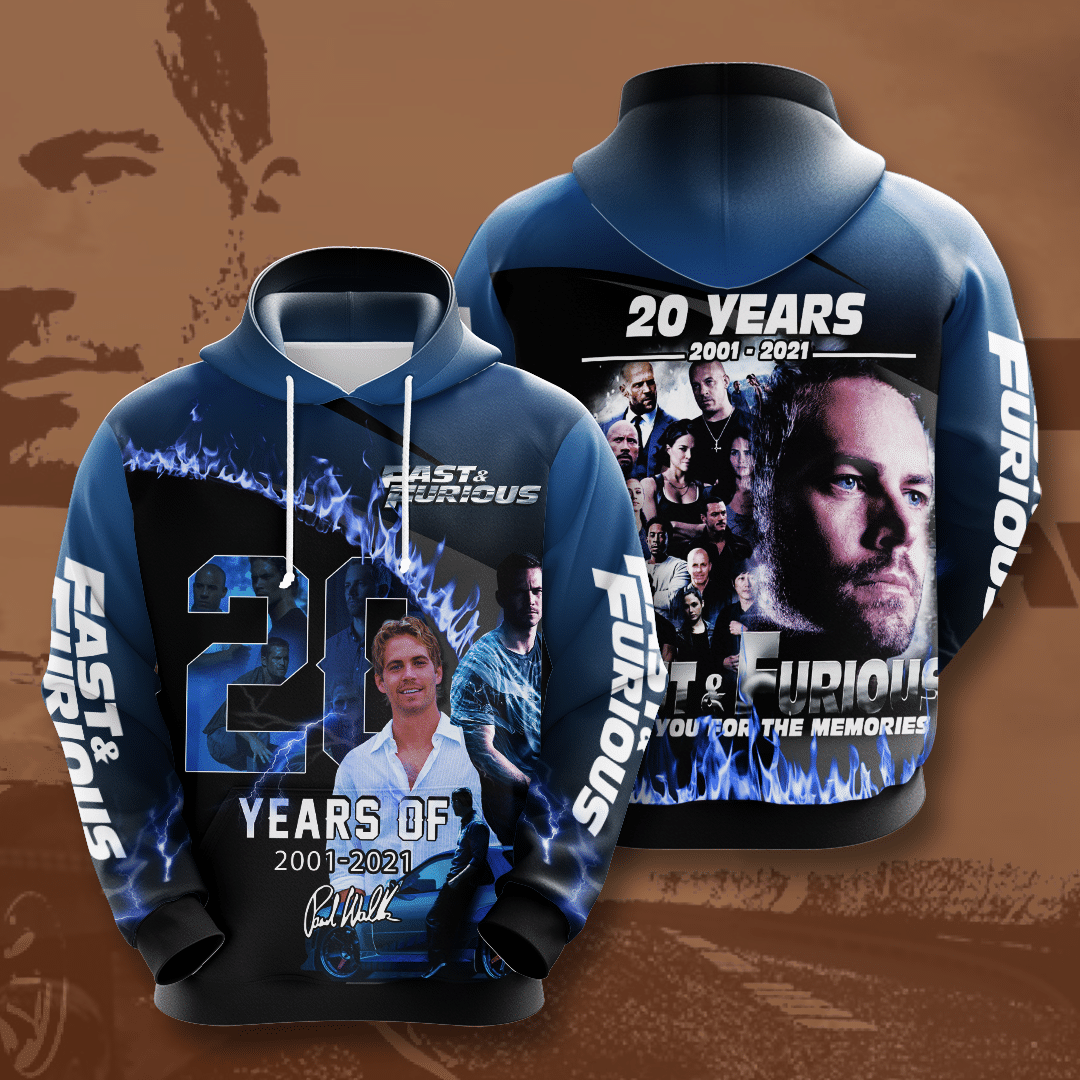 Paul Walker Fast and Furious 20 years anniversary Blue 3D Hoodie
