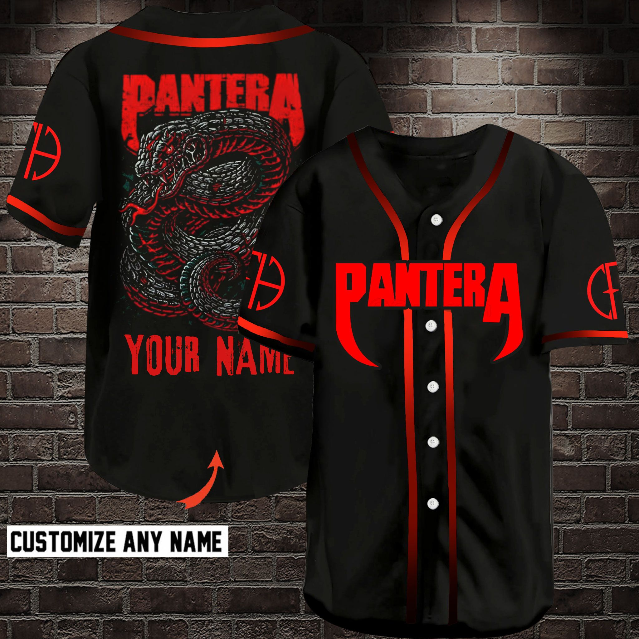 Pantera Snake Customize Name Baseball Jersey Shirt