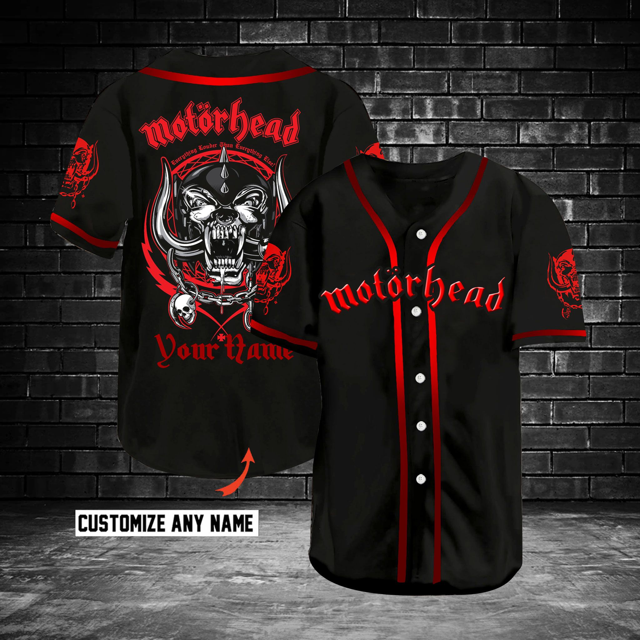 Motorhead Customize Name Baseball Jersey Shirt