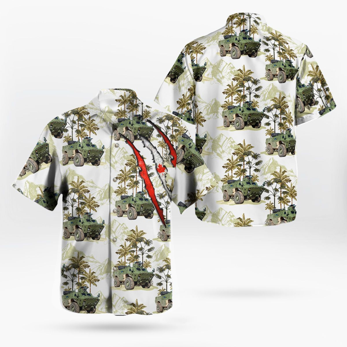 Canadian Army TAPV Tactical Armoured Patrol Vehicle Forest Hawaiian Shirt
