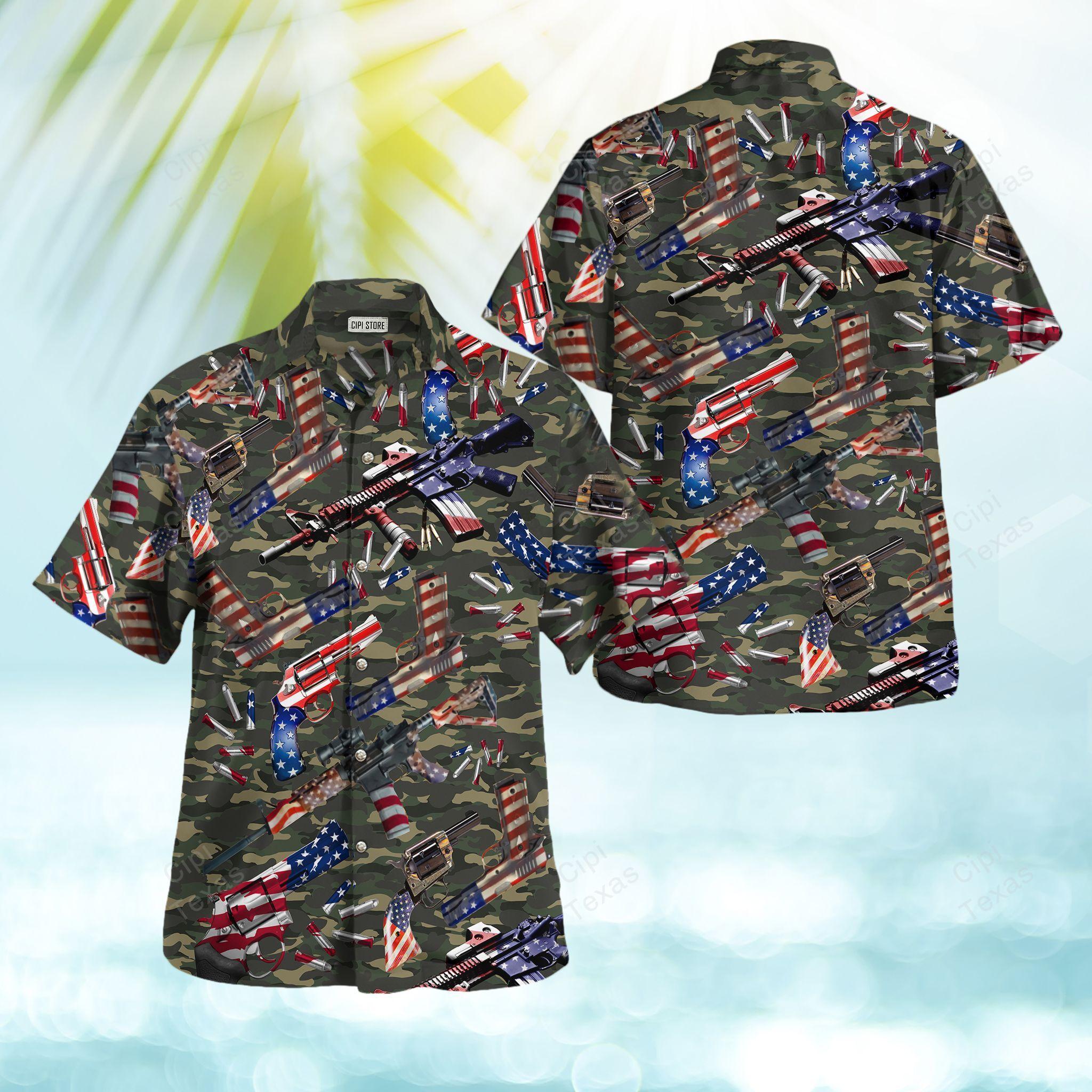 Camouflage Gun USA Pattern American Hawaiian Shirt