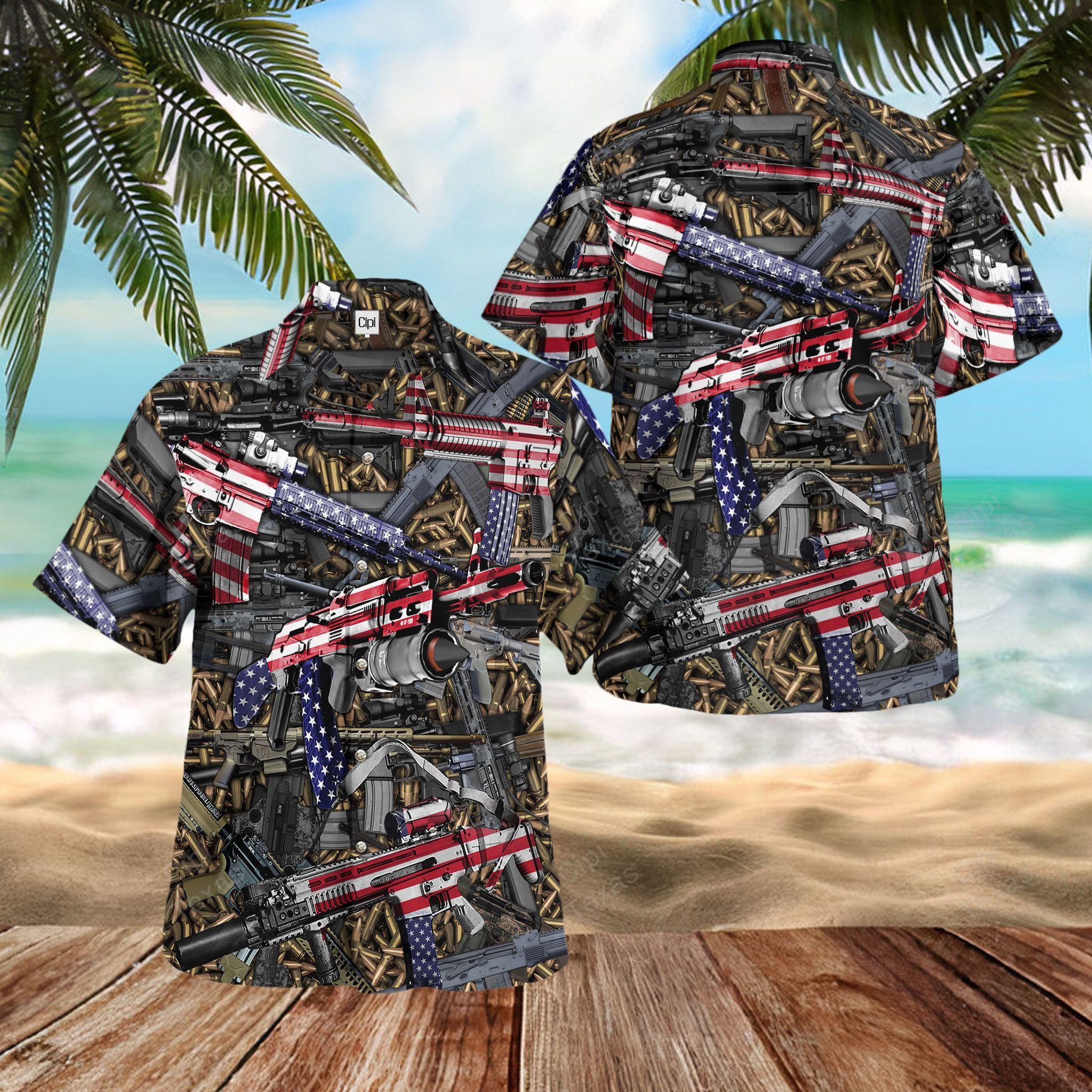 American weapon Gun and bullets Hawaiian Shirt