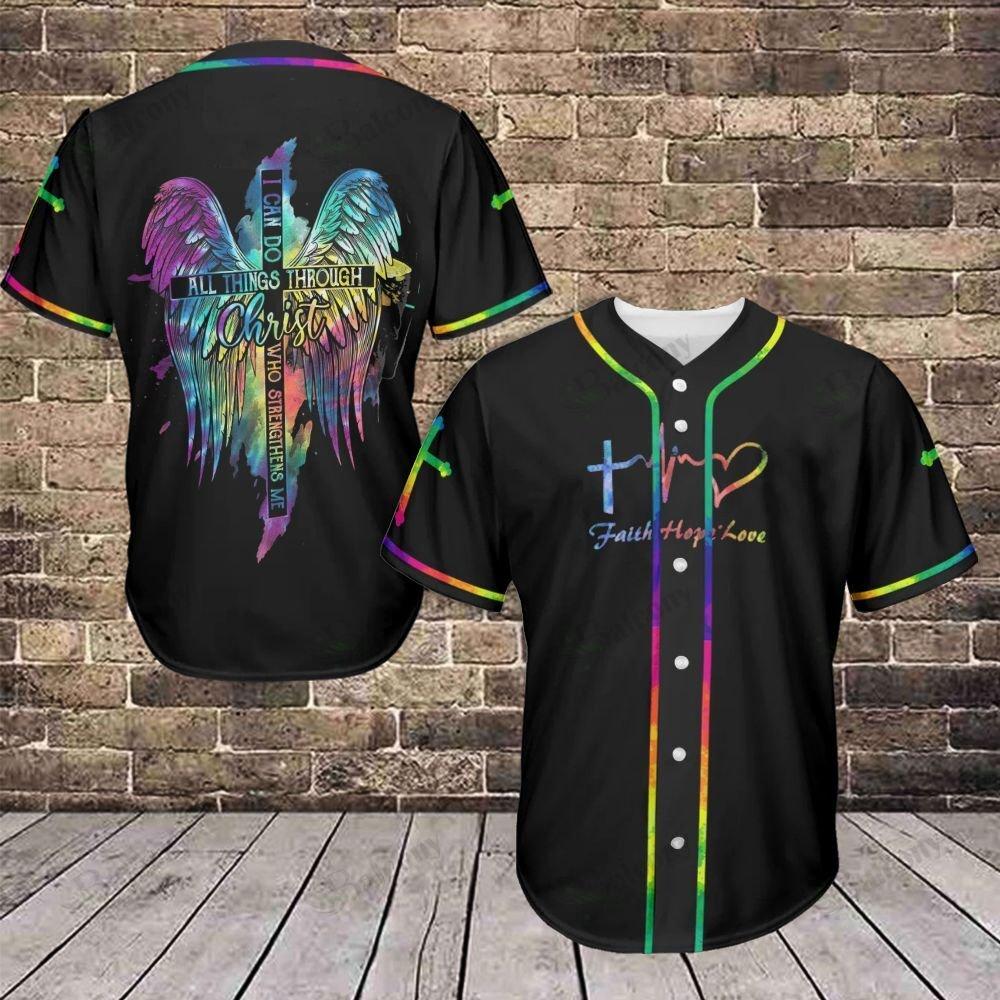 LGBT Faith Hope Love Cross cover Christ Wings Baseball Jersey shirt