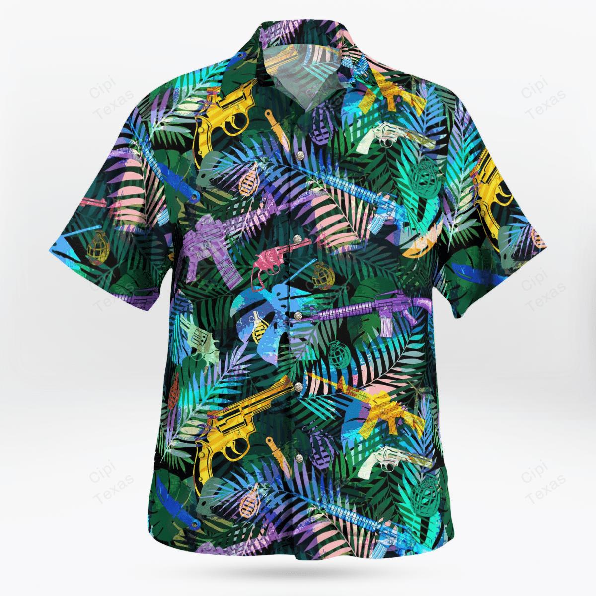 Tropical Gun Lovers Pattern Hawaiian Shirt