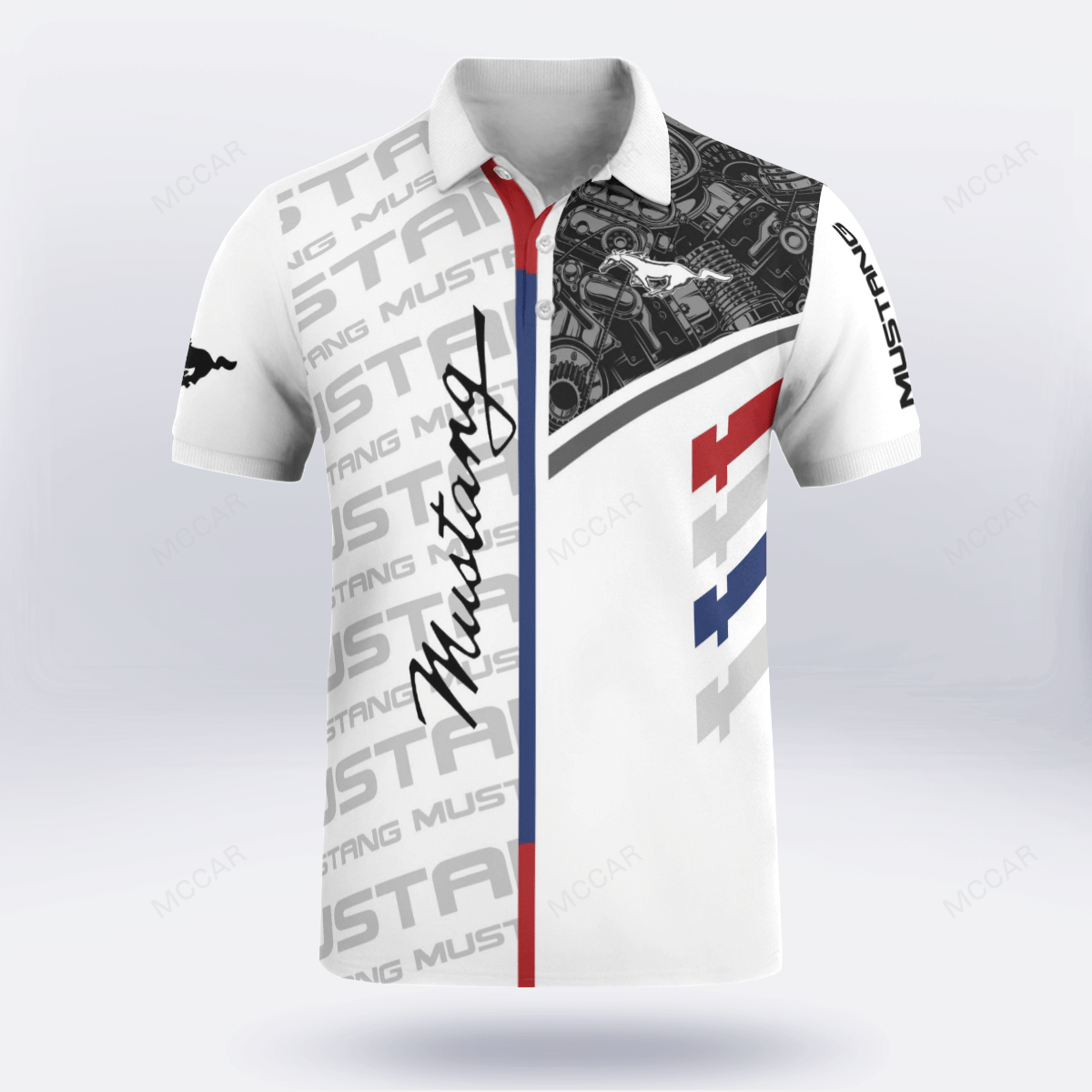 Ford Mustang best engine white Polo Shirt