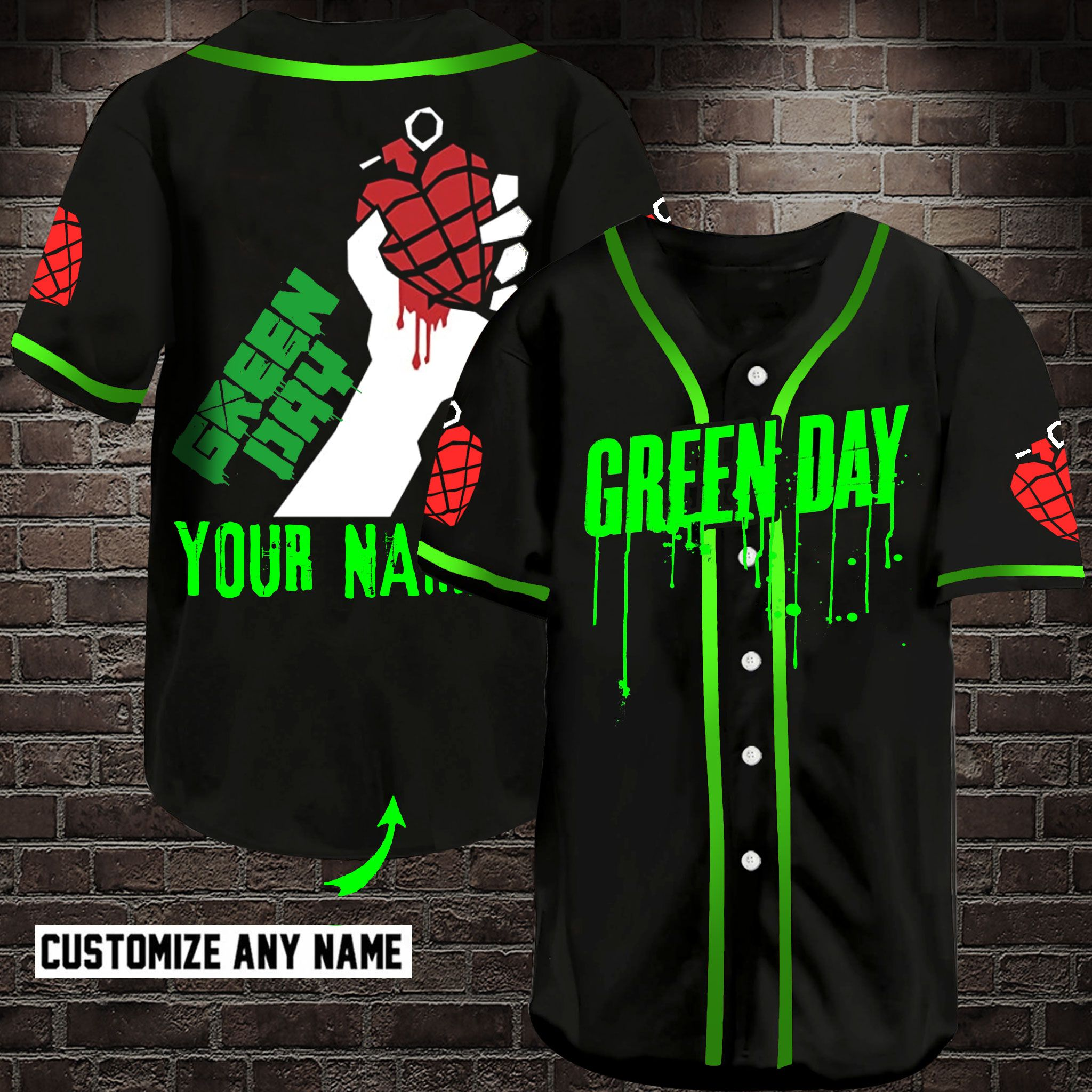 Green Day Customize Name Baseball Jersey Shirt