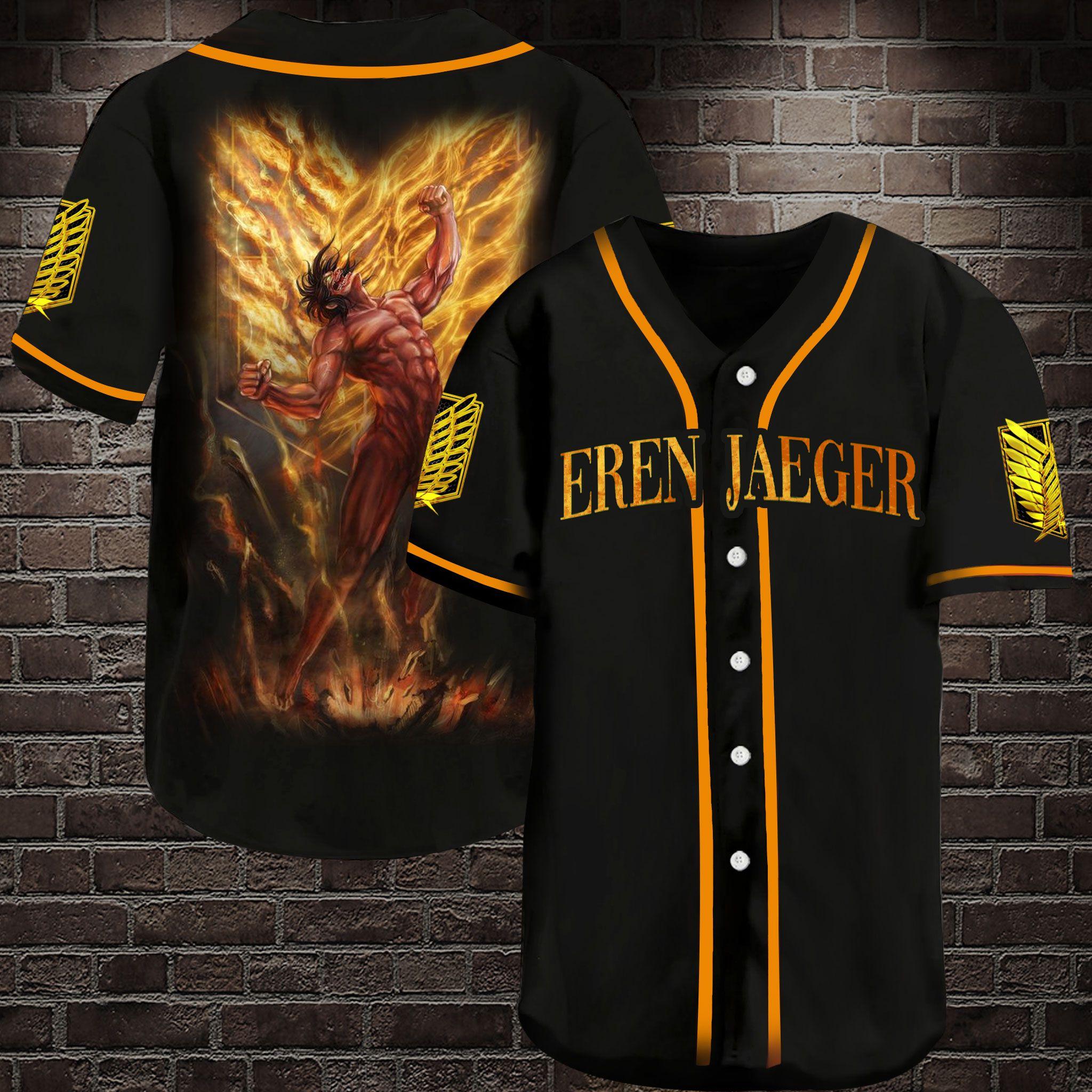 Attack on Titan Eren Jaeger Baseball Jersey Shirt