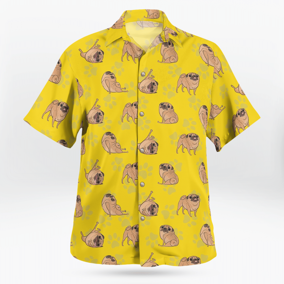 Pug Yellow Hawaiian Shirt