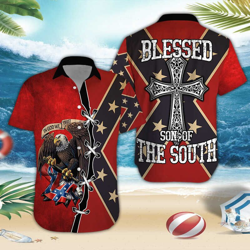 Blessed Son of the South Eagle Rebel hawaiian shirt