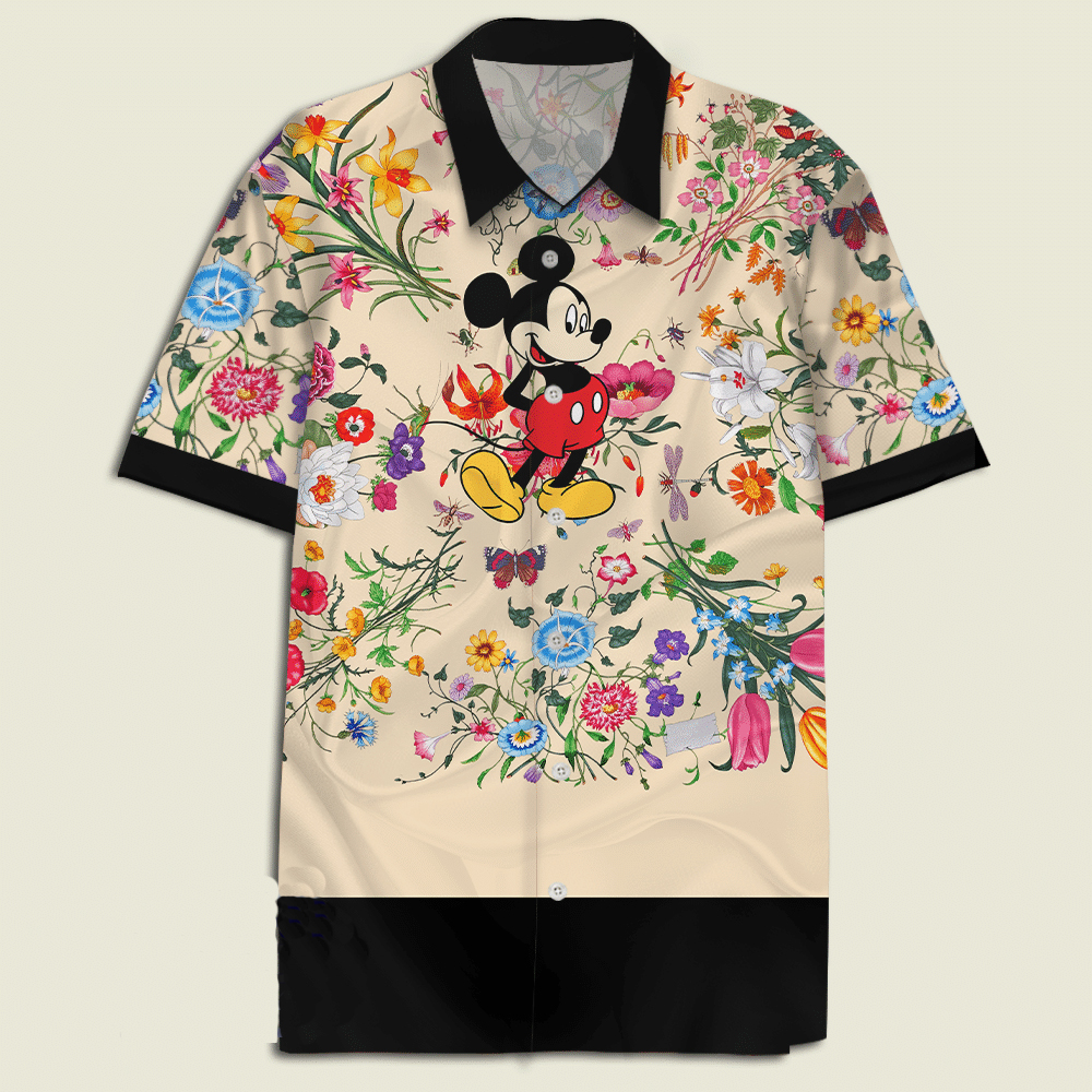 Mickey Mouse With Flora Hawaiian Shirt
