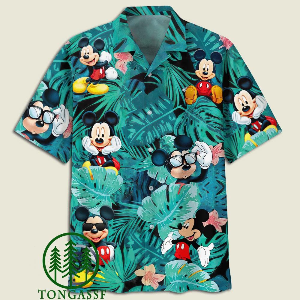 Mickey Mouse Flowers And Leaves Adult Hawaiian Shirt