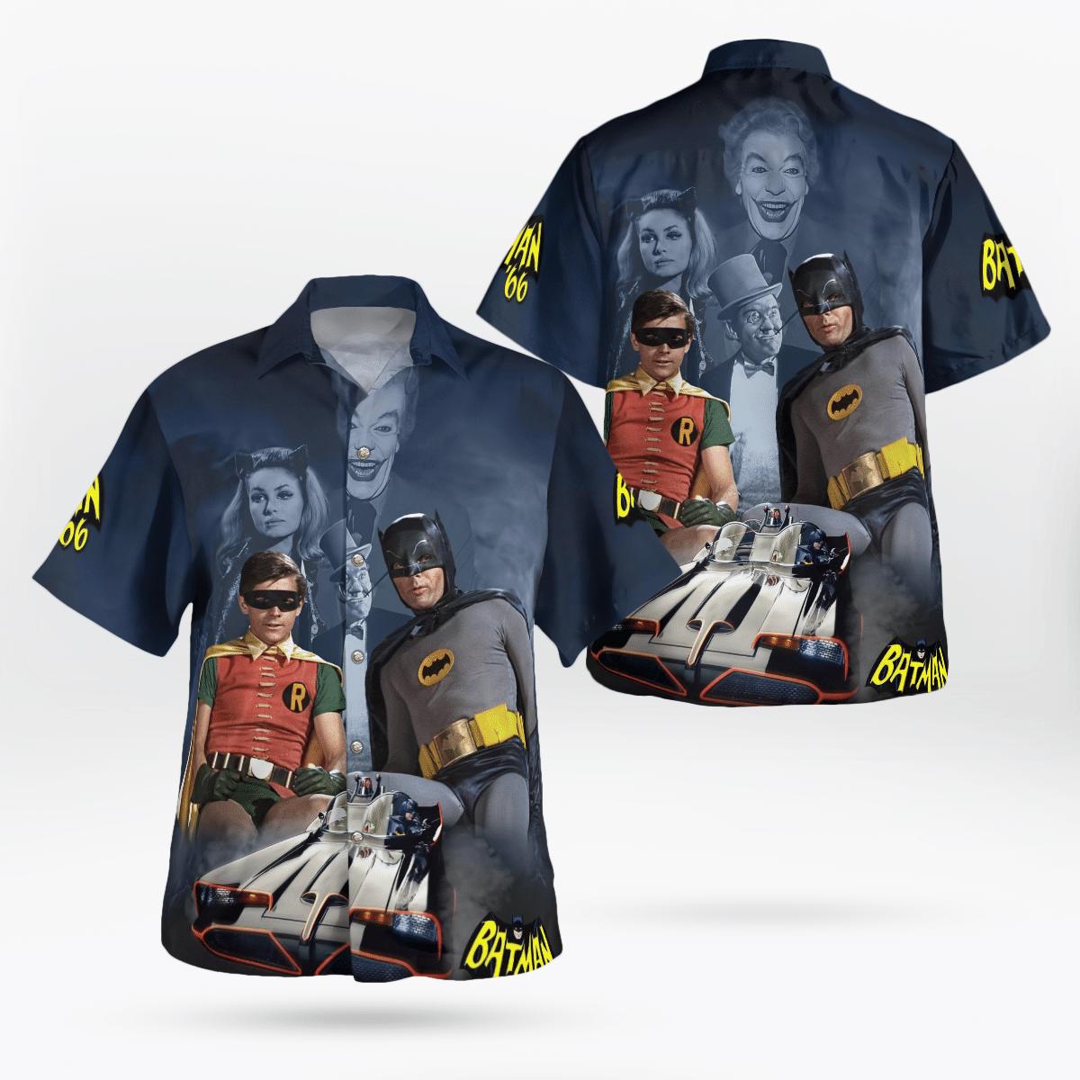 Batman and Robin Batcar 1966 Hawaiian Shirt