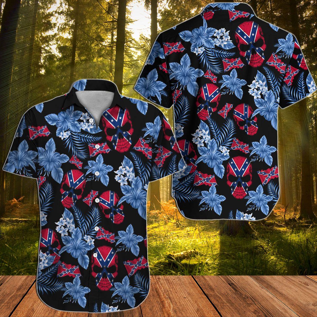 Southern Rebel Floral Skull Hawaiian shirt