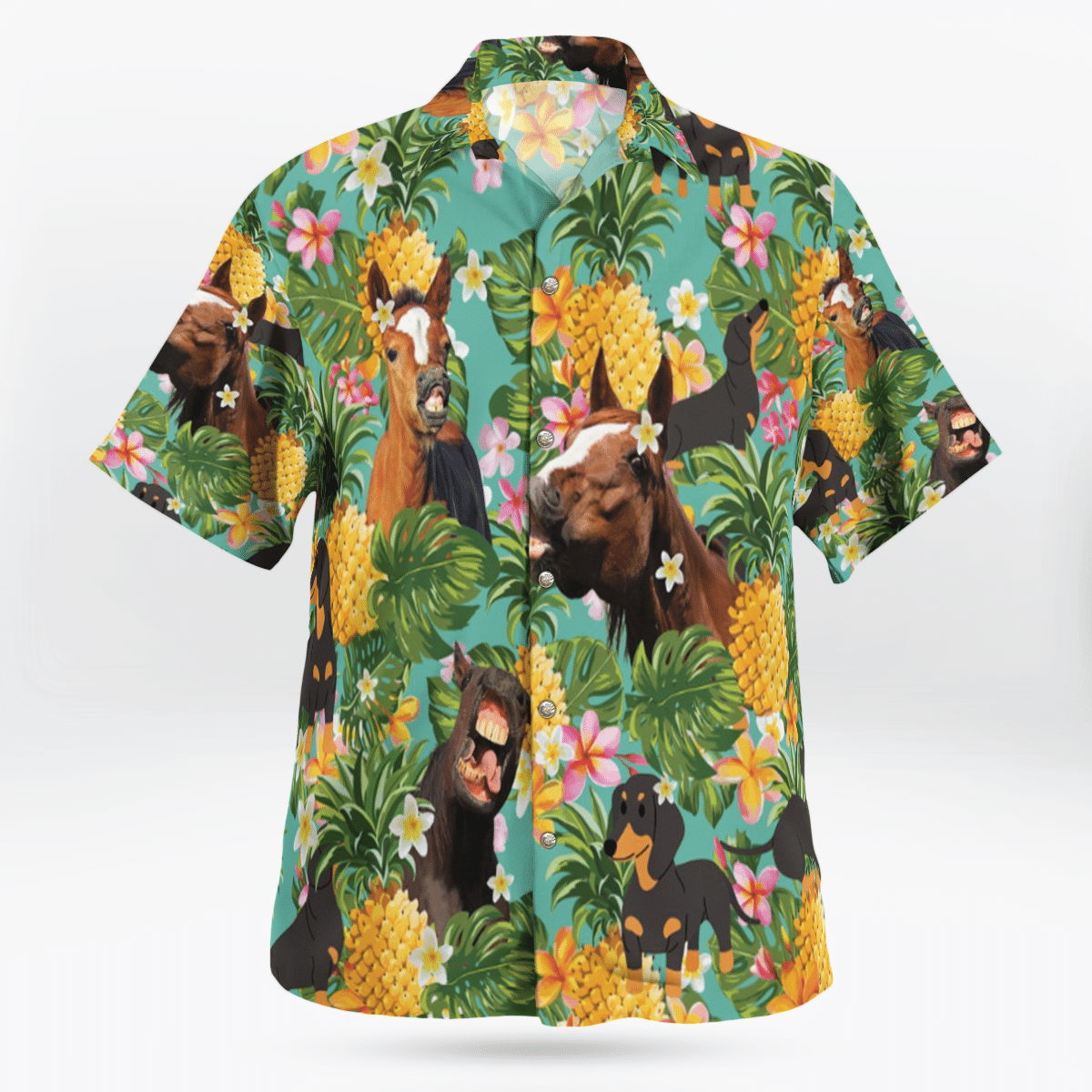 Funny Horse And Dachshund Hawaiian Shirt