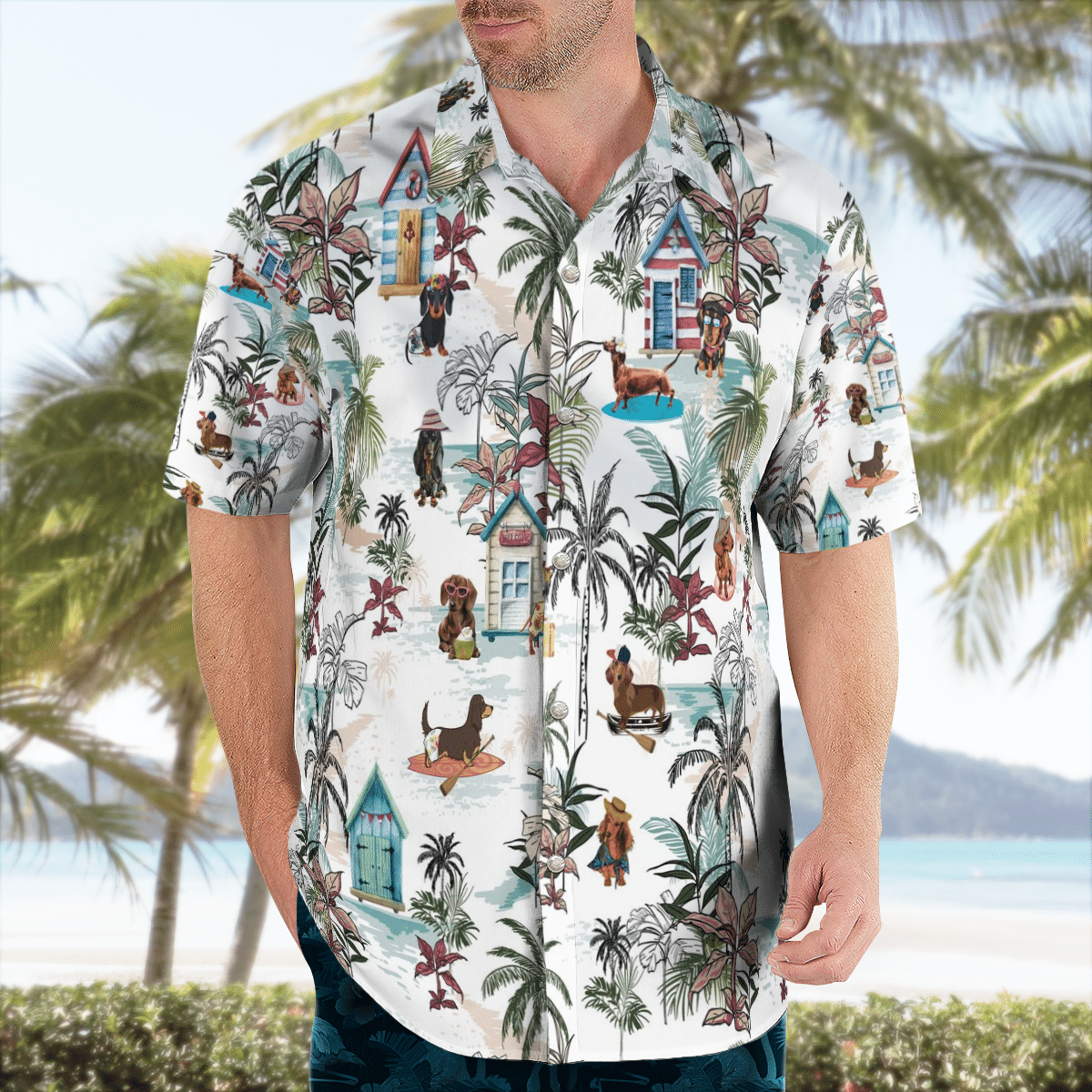 Dachshund Hawaii Floral Hawaiian Shirt