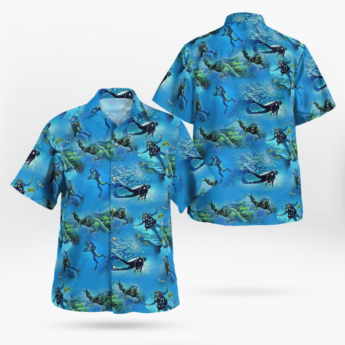 Scuba Diving Pattern Hawaiian Beach Shirt