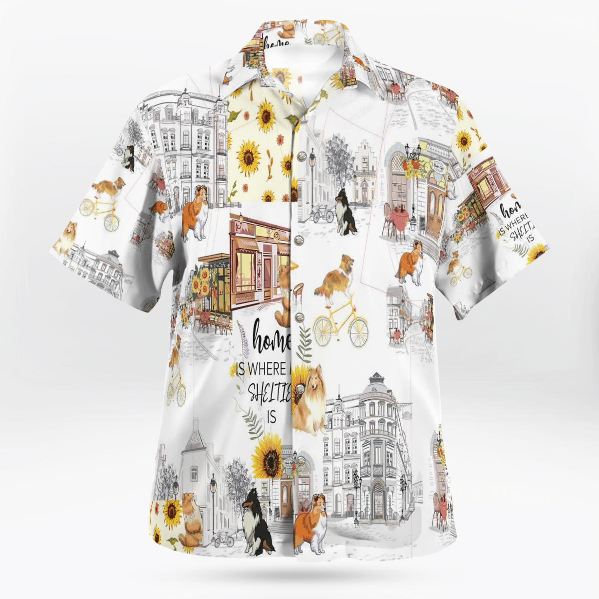 Sheltie Urban Sunflower Art Hawaiian Shirt