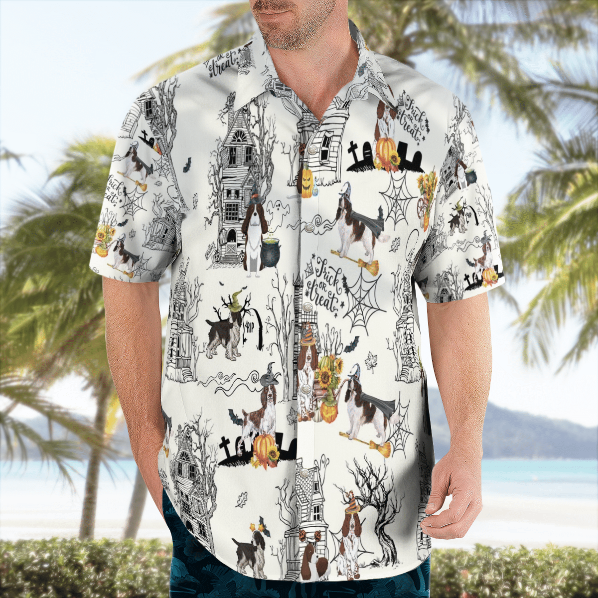 English Springer Spaniel Halloween Pumpkin Hawaiian Shirt