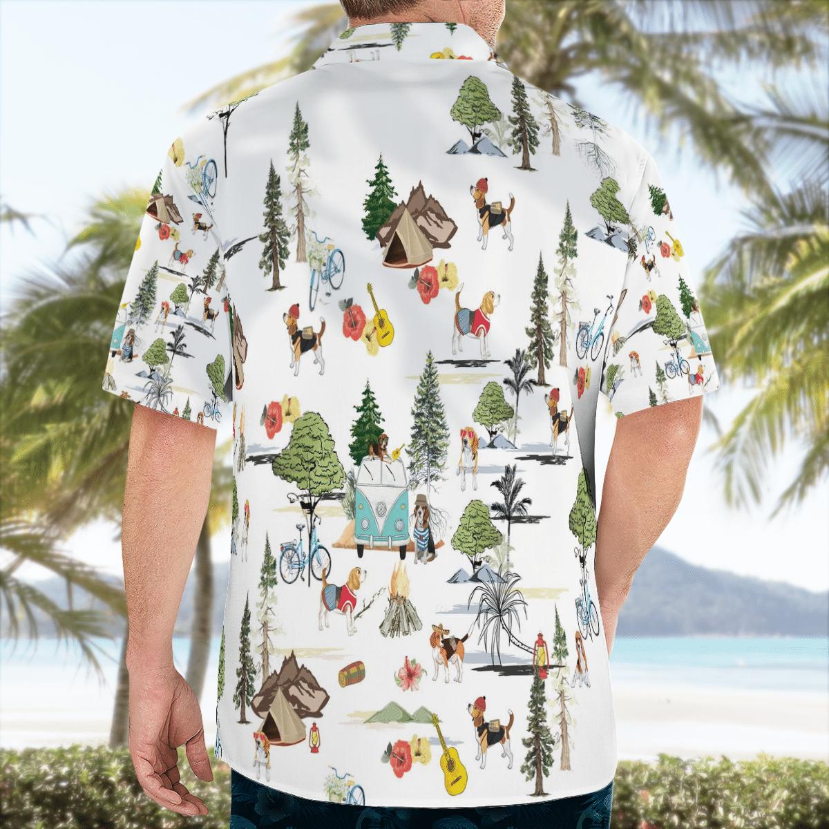 Beagle Camping With Friends Hawaiian Beach Shirt