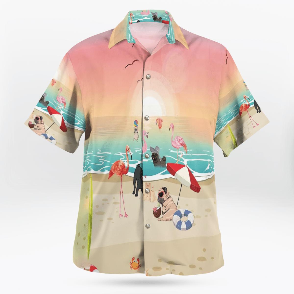 Pug With Flamingo At The Beach Hawaiian Shirt