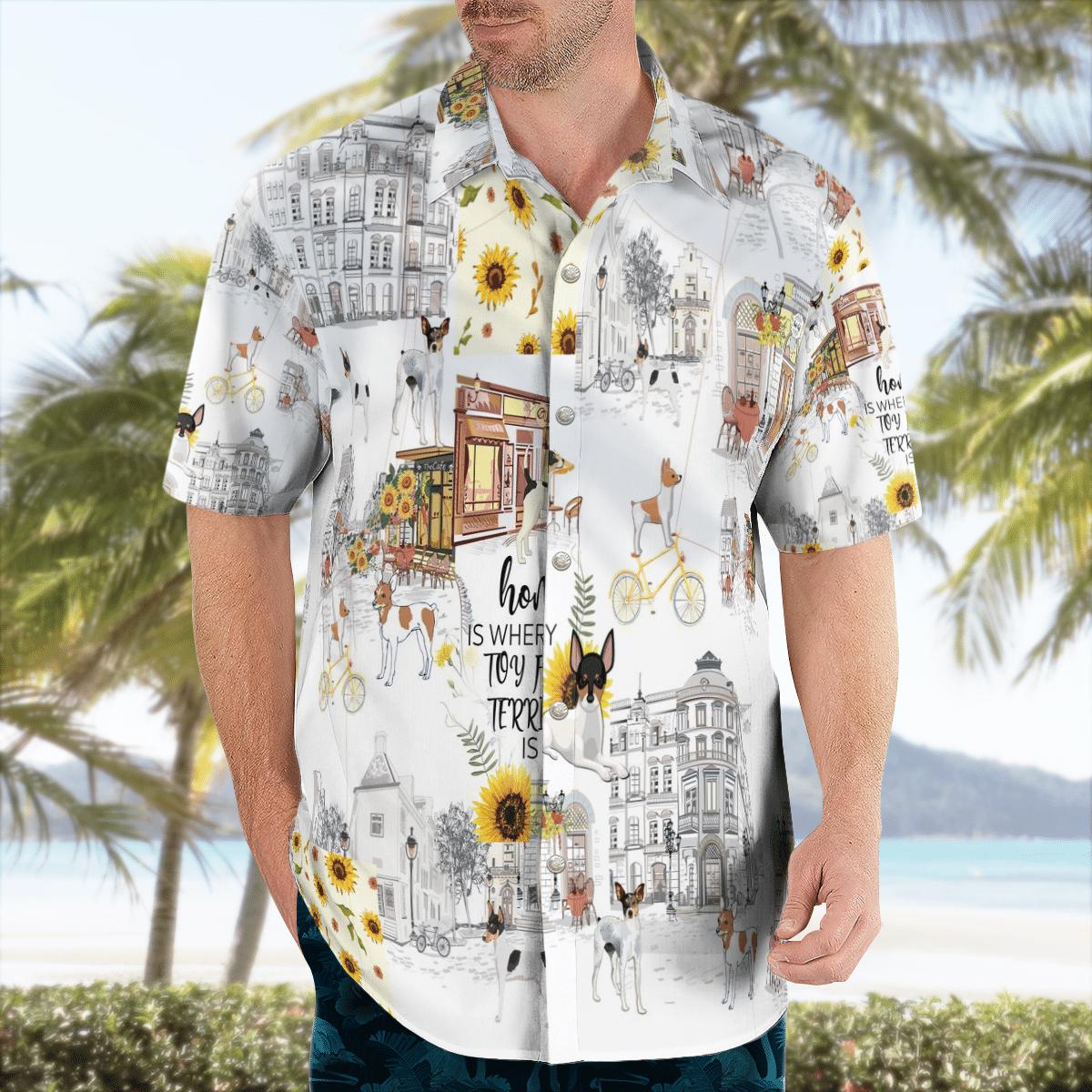 Toy Fox Terrier Sunflower Hawaiian Shirt