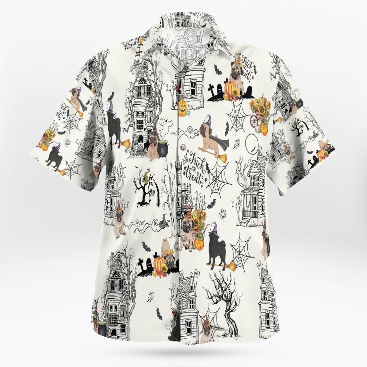 Pug Halloween Pumpkin Hawaiian Shirt