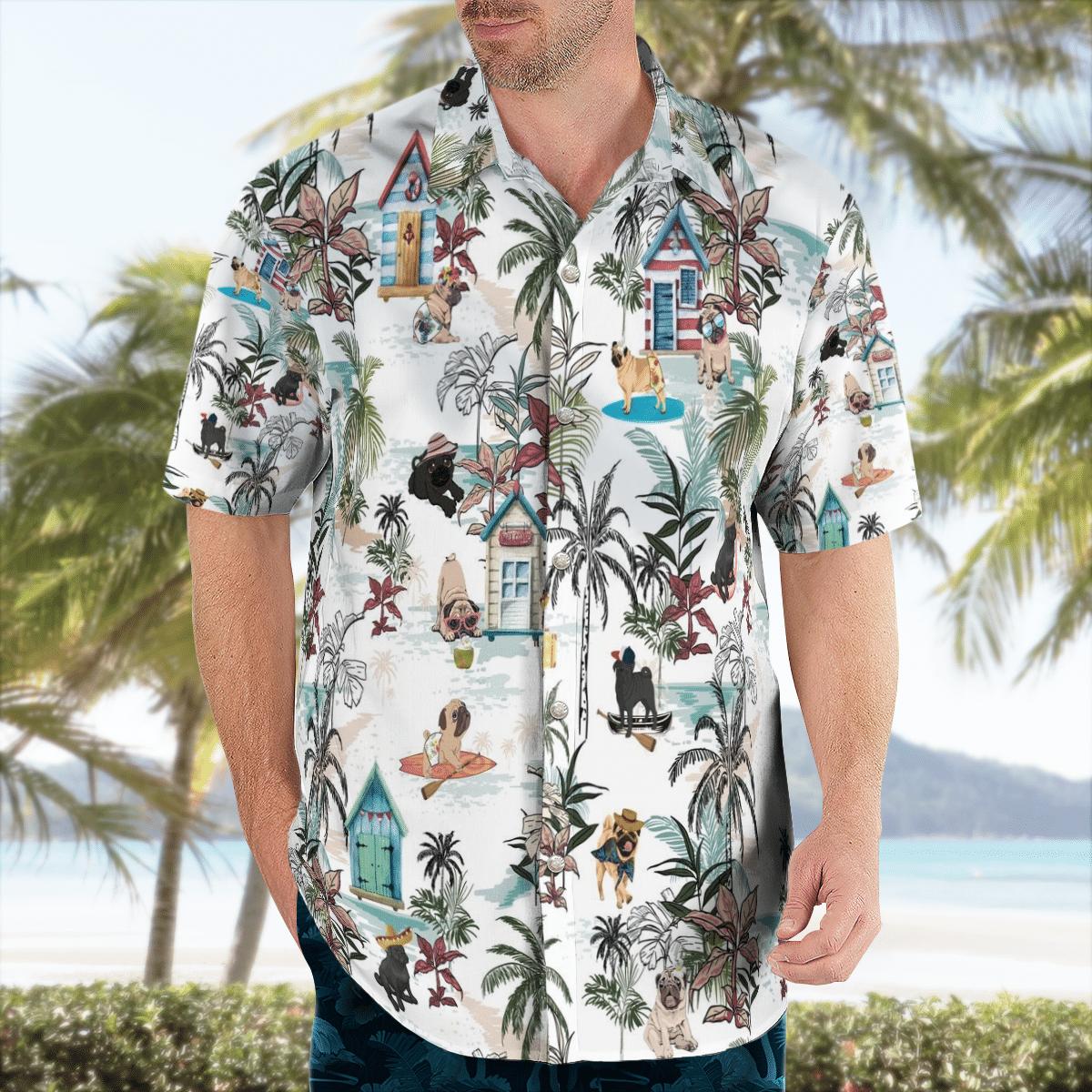 Pug Hawaiian Shirt Beach Summer Shirt