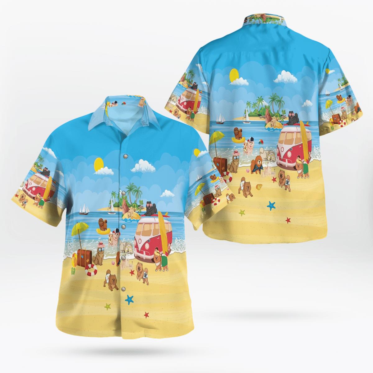 Chow Chow At The Beach Hawaiian Beach Shirt