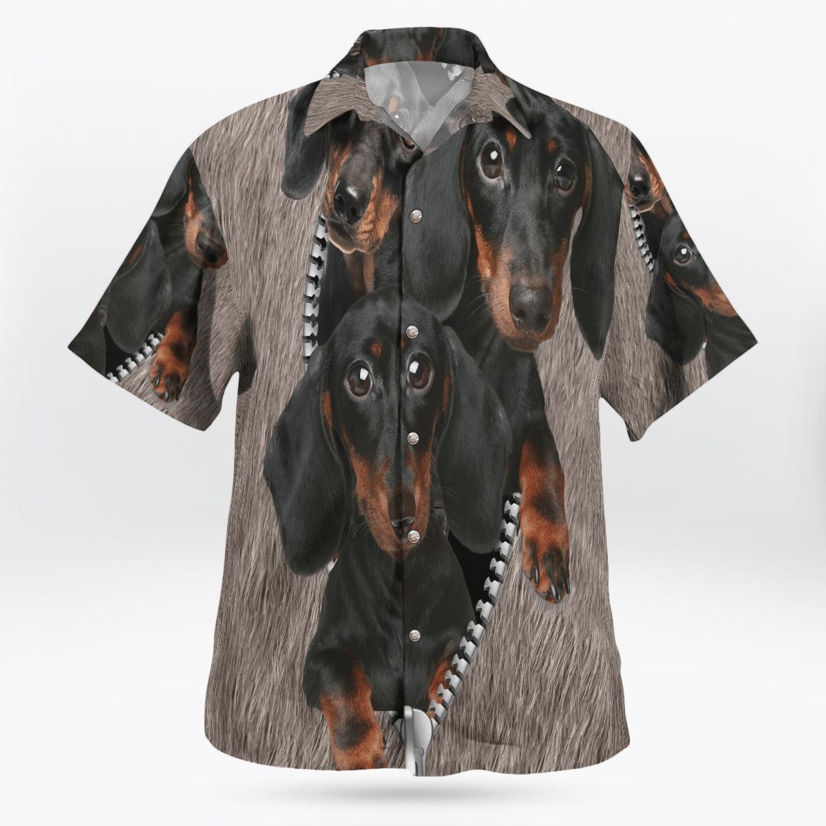 Dachshund Under Pocket Hawaiian Shirt