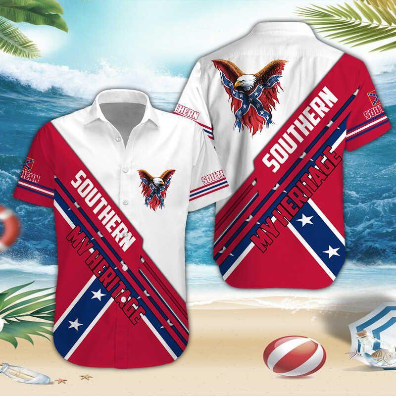 Southern My Heritage Rebel Confederate Hawaiian shirt