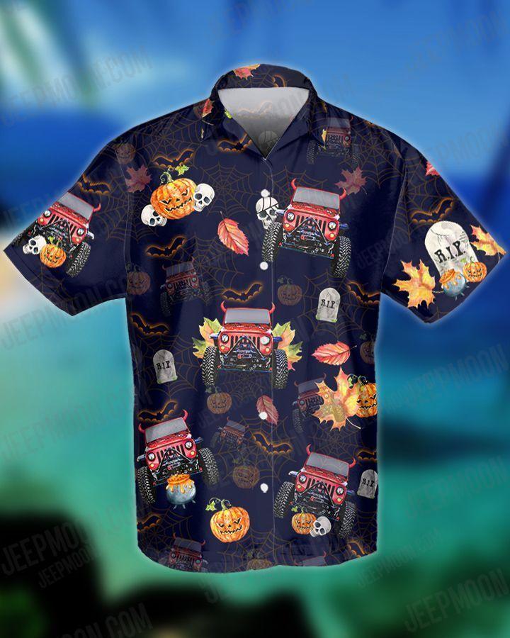 Halloween Jeep and pumpkin Hawaiian Shirt and Shorts