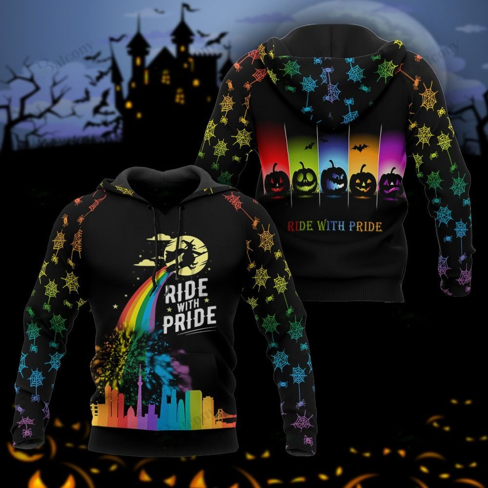 Halloween LGBT Rainbow Witch Ride with Pride 3D hoodie