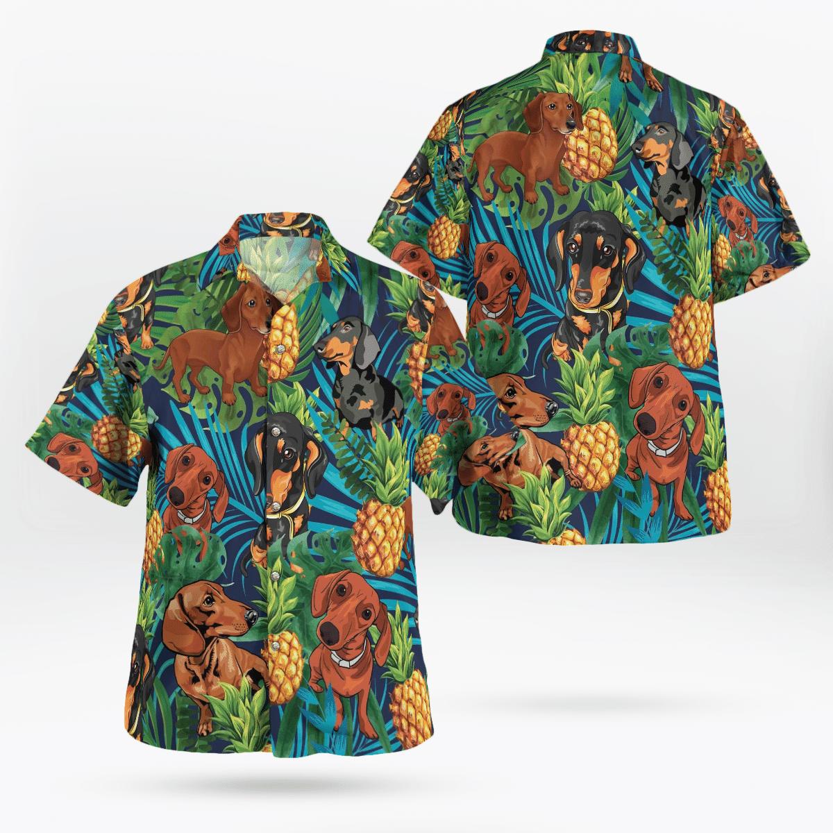 Dachshund Tropical pineapple Hawaiian Shirt
