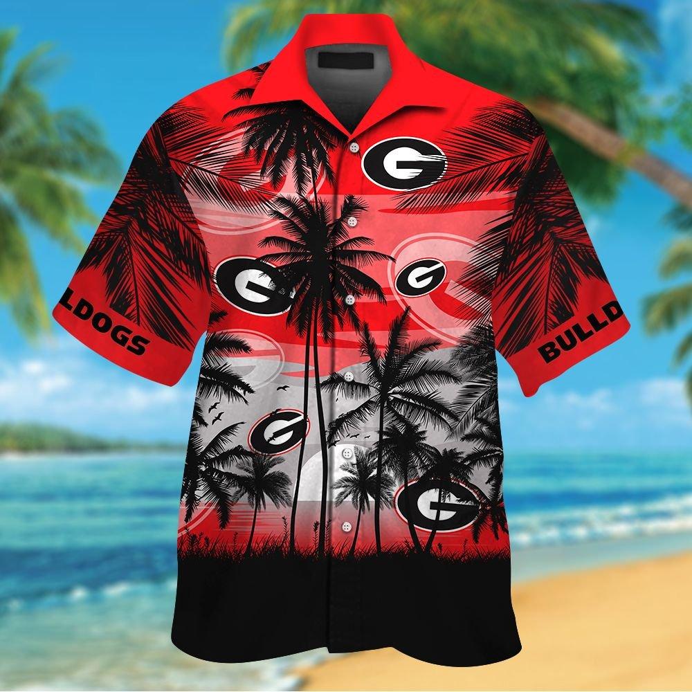 NCAA Georgia Bulldogs Tropical Hawaiian Shirt Men Women Shorts