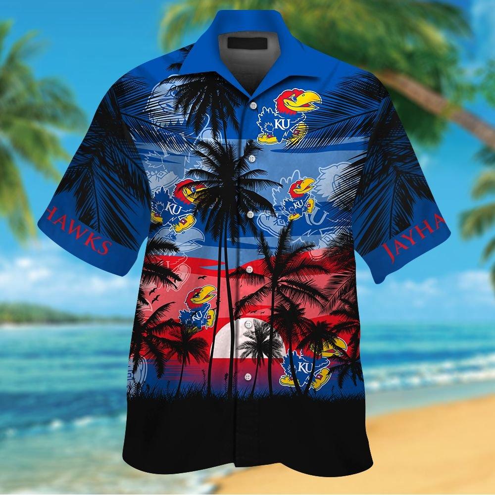 NCAA Kansas Jayhawks Tropical Hawaiian Shirt Men Women Shorts